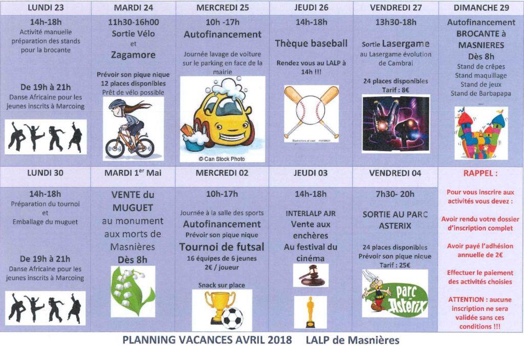 planning vacances avril 2018